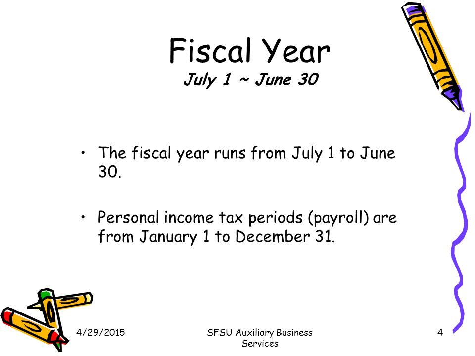 4/29/2015SFSU Auxiliary Business Services 4 Fiscal Year July 1 ~ June 30 The fiscal year runs from July 1 to June 30.