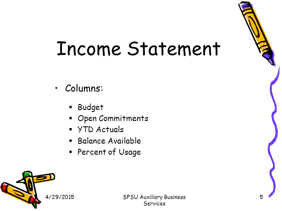 4/29/2015SFSU Auxiliary Business Services 5 Income Statement Columns:  Budget  Open Commitments  YTD Actuals  Balance Available  Percent of Usage