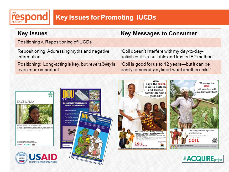Key Issues for Promoting IUCDs Key IssuesKey Messages to Consumer Positioning v.