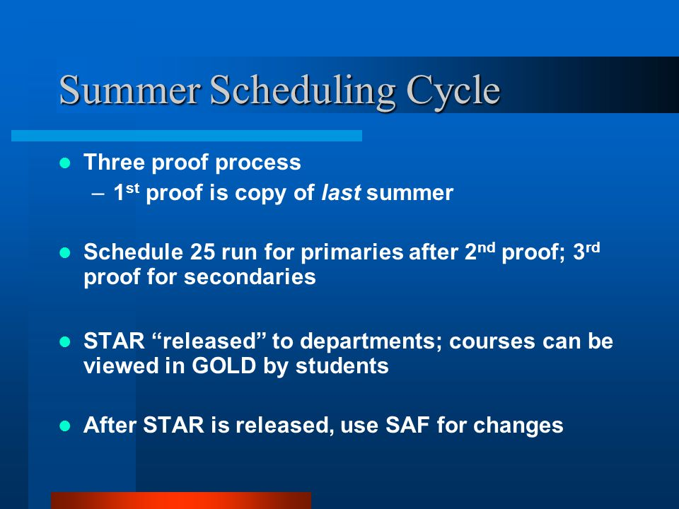 Summer Scheduling Cycle Three proof process –1 st proof is copy of last summer Schedule 25 run for primaries after 2 nd proof; 3 rd proof for secondaries STAR released to departments; courses can be viewed in GOLD by students After STAR is released, use SAF for changes