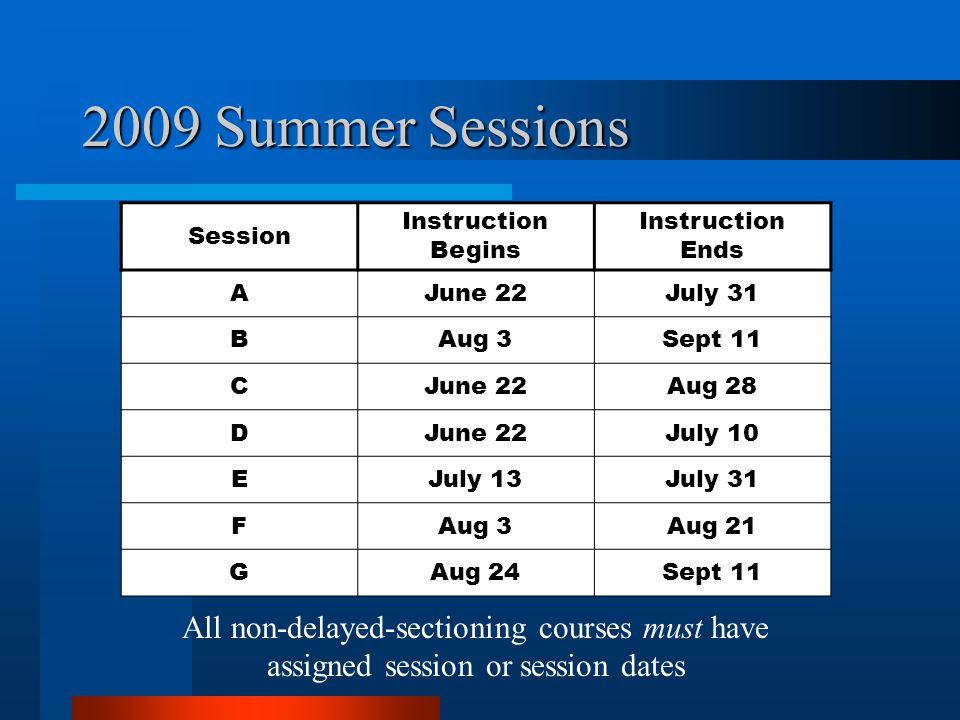 2009 Summer Sessions Session Instruction Begins Instruction Ends AJune 22July 31 BAug 3Sept 11 CJune 22Aug 28 DJune 22July 10 EJuly 13July 31 FAug 3Au