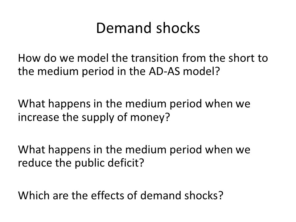 1) Expansive monetary policy ( M S ) Let's assume Y = Y n The Central Bank increases M S M S is a component of AD: M S -> Aggregate demand -> AD shifts rightward Expansive monetary policy
