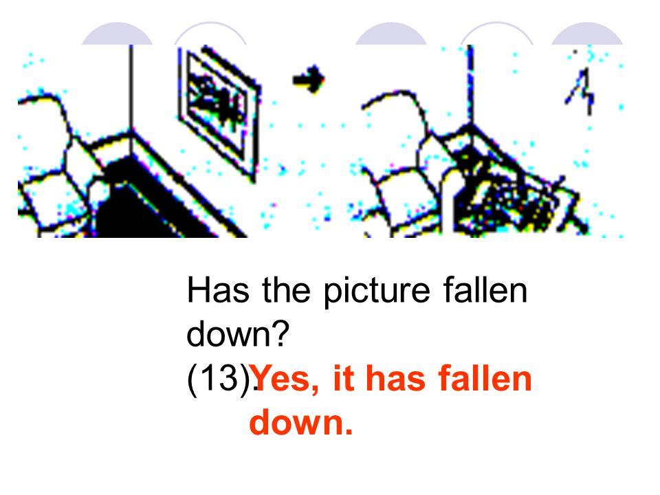 Has the picture fallen down? (13). Yes, it has fallen down.