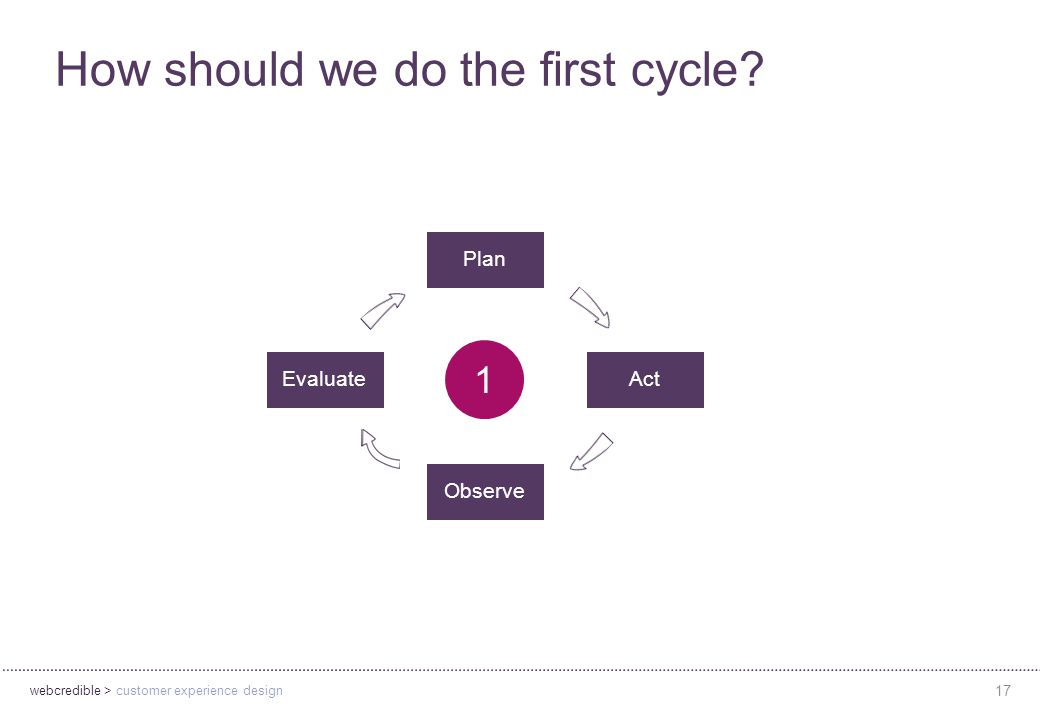 webcredible > customer experience design 17 How should we do the first cycle.