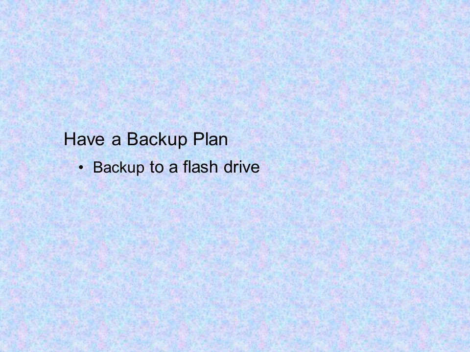 Backup to a flash drive