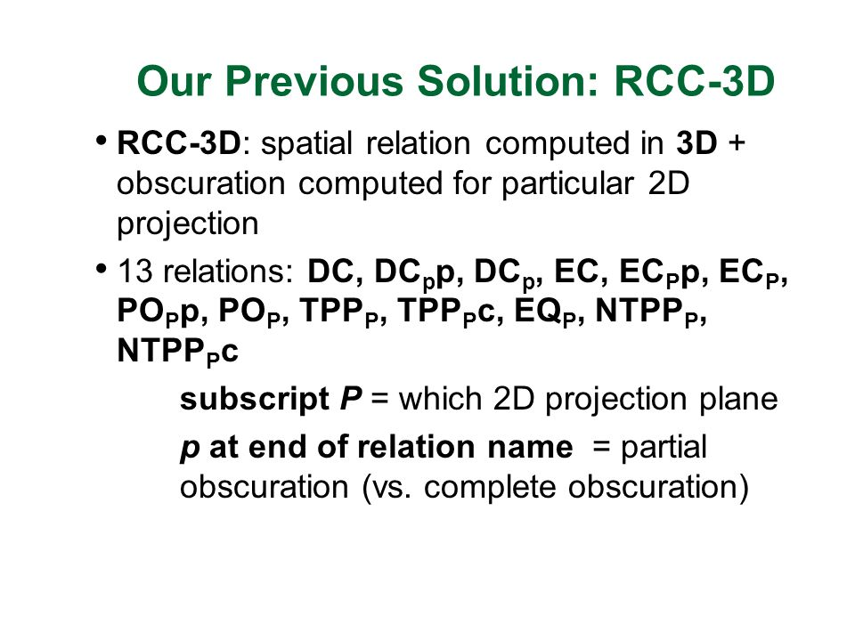 Our Previous Solution: RCC-3D RCC-3D: spatial relation computed in 3D + obscuration computed for particular 2D projection 13 relations: DC, DC p p, DC p, EC, EC P p, EC P, PO P p, PO P, TPP P, TPP P c, EQ P, NTPP P, NTPP P c subscript P = which 2D projection plane p at end of relation name = partial obscuration (vs.