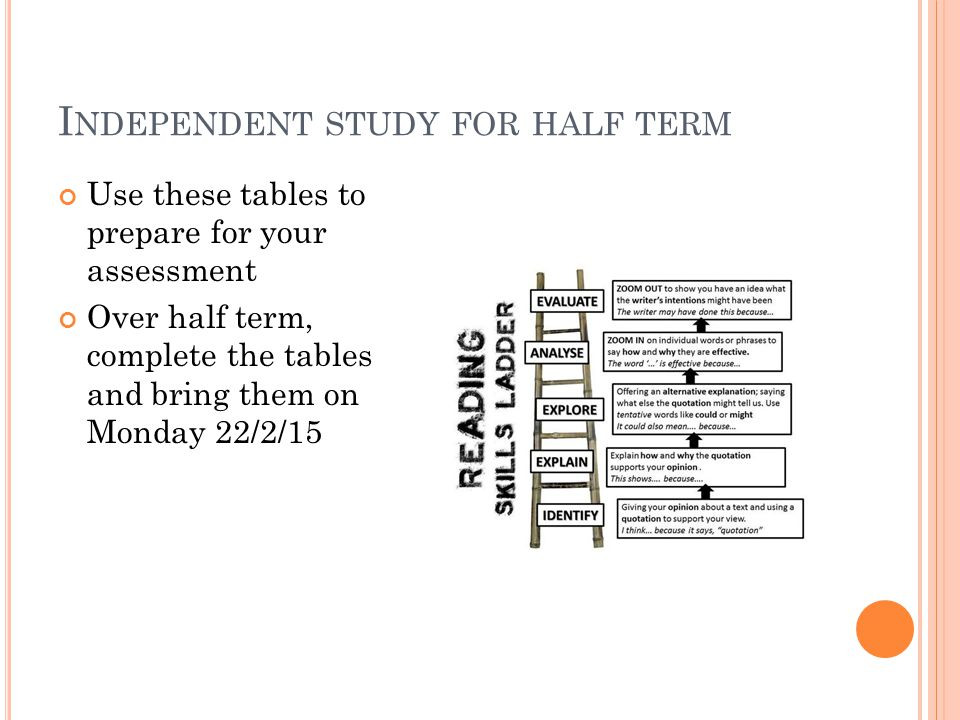 I NDEPENDENT STUDY FOR HALF TERM Use these tables to prepare for your assessment Over half term, complete the tables and bring them on Monday 22/2/15