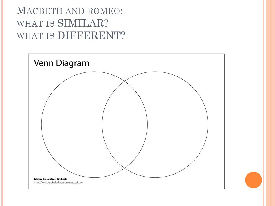M ACBETH AND ROMEO : WHAT IS SIMILAR? WHAT IS DIFFERENT?