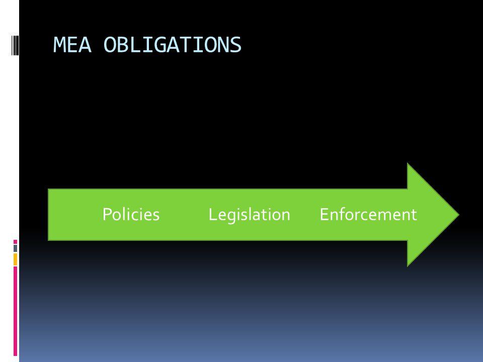 MEA OBLIGATIONS EnforcementLegislation Policies