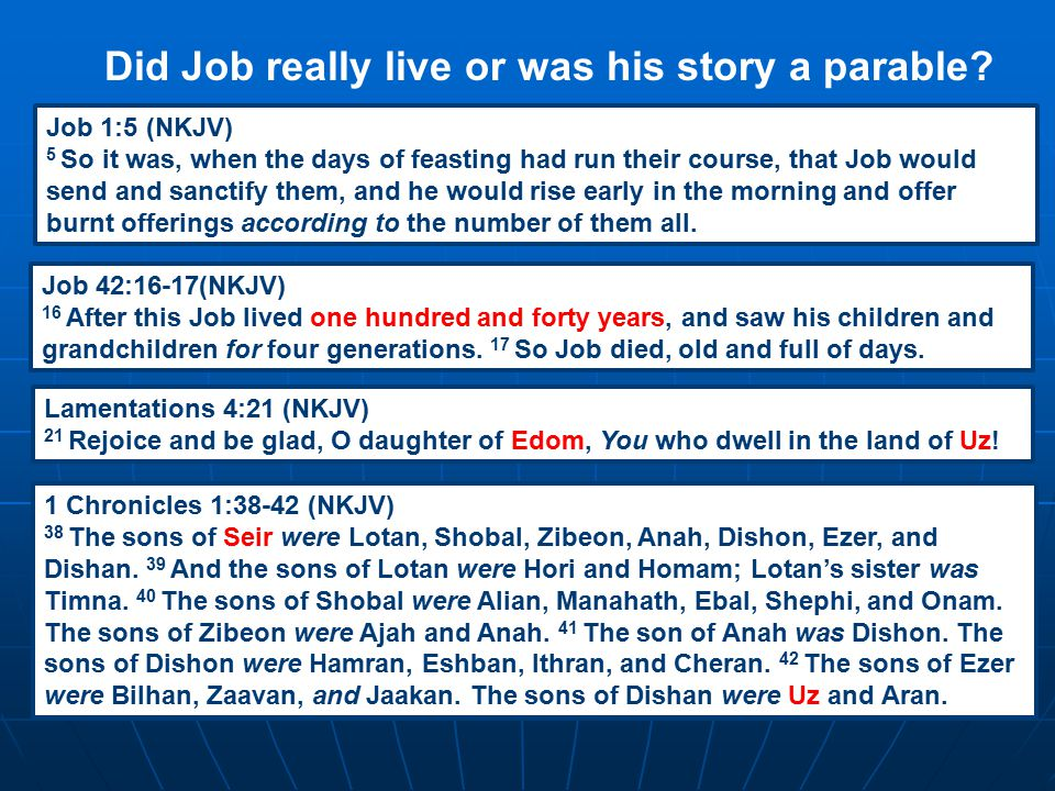 Did Job really live or was his story a parable? Job 1:5 (NKJV) 5 So it was, when the days of feasting had run their course, that Job would send and sa