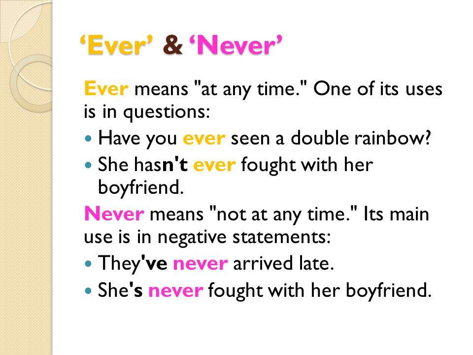 'Ever' & 'Never' Ever means