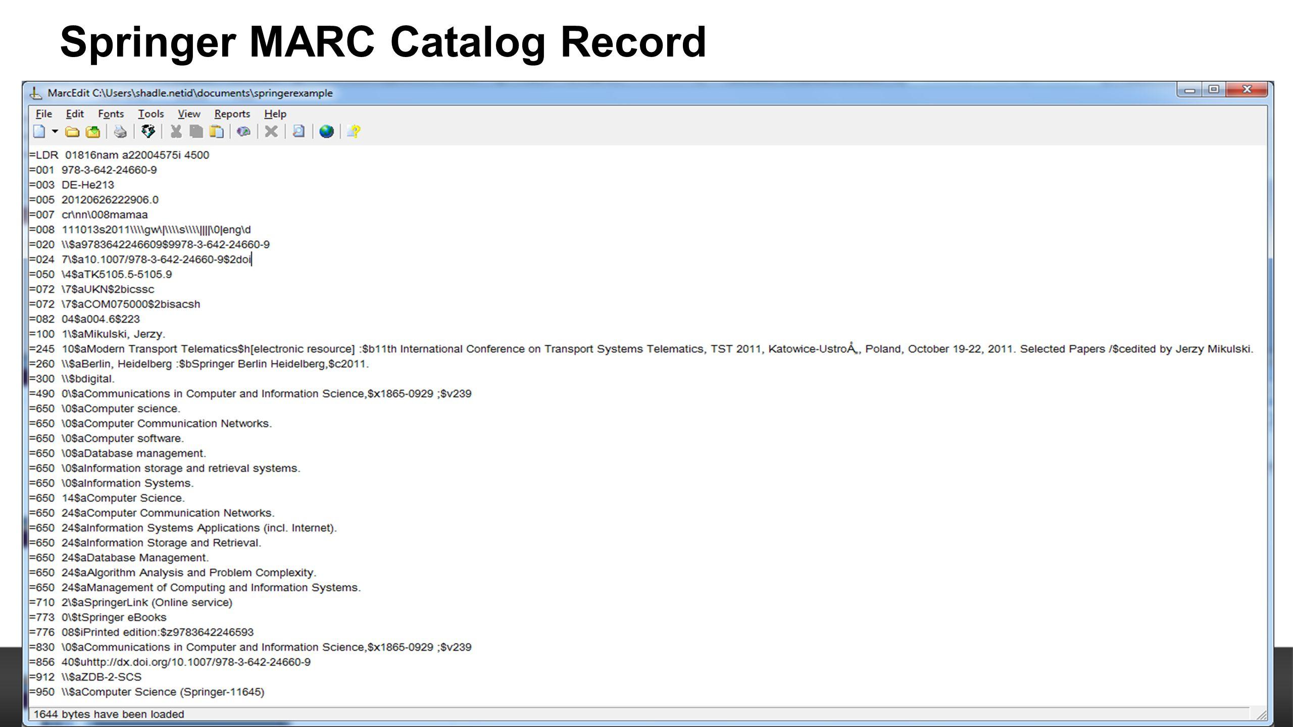 Springer MARC Catalog Record