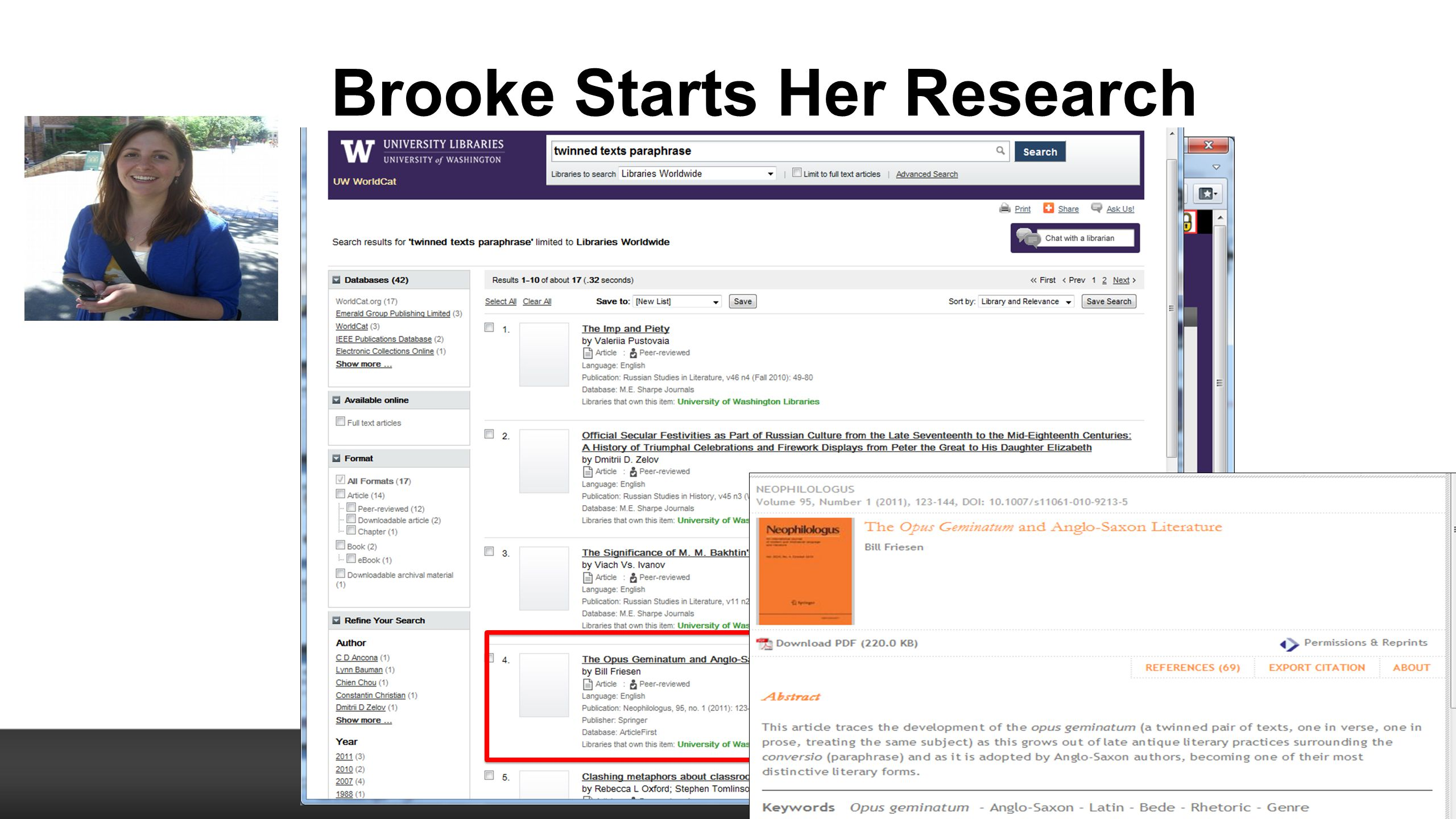 Brooke Starts Her Research