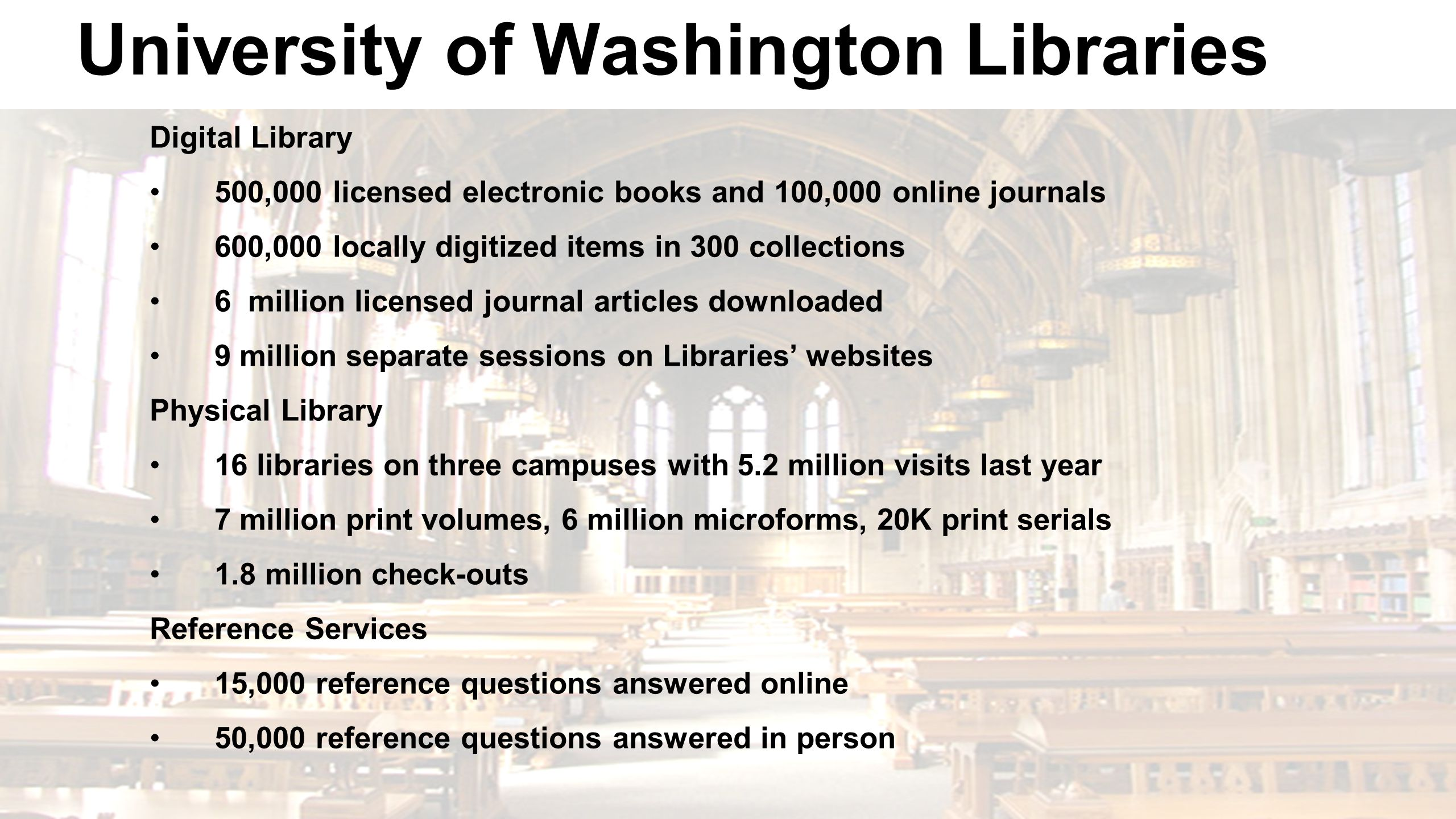 University of Washington Libraries Digital Library 500,000 licensed electronic books and 100,000 online journals 600,000 locally digitized items in 30
