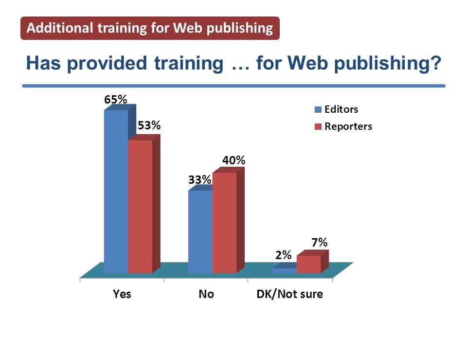 Has provided training … for Web publishing Additional training for Web publishing