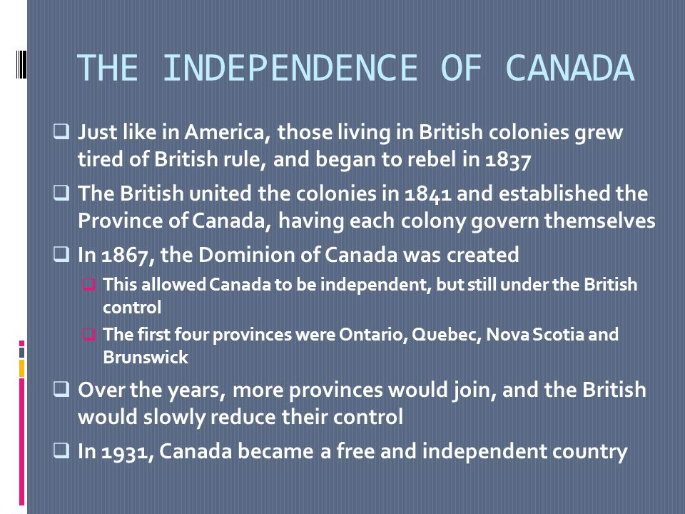 QUEBEC'S INDEPENDENCE MOVEMENT Around 1960, citizens of Quebec felt they were being ignored and wanted their own rights.