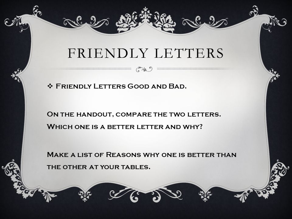 FRIENDLY LETTERS  Friendly Letters: correct form  Lets look at the form of a well formatted friendly letter.