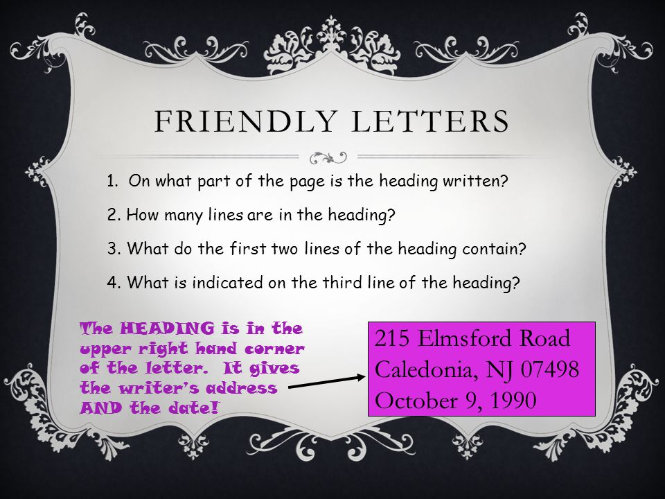 FRIENDLY LETTERS 1. On what part of the page is the heading written.