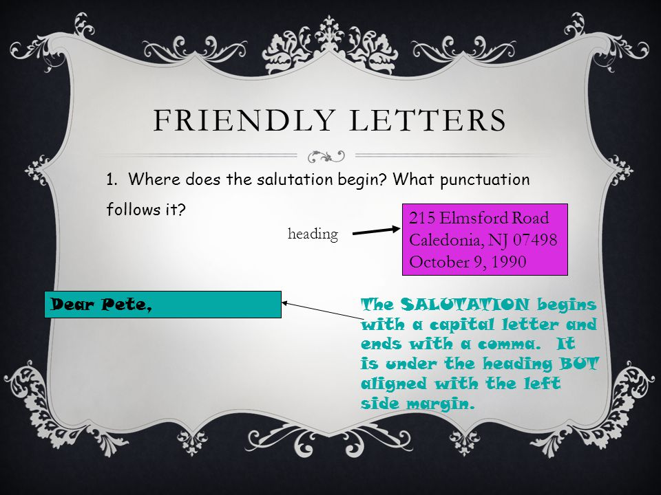 FRIENDLY LETTERS 1. Where does the salutation begin.