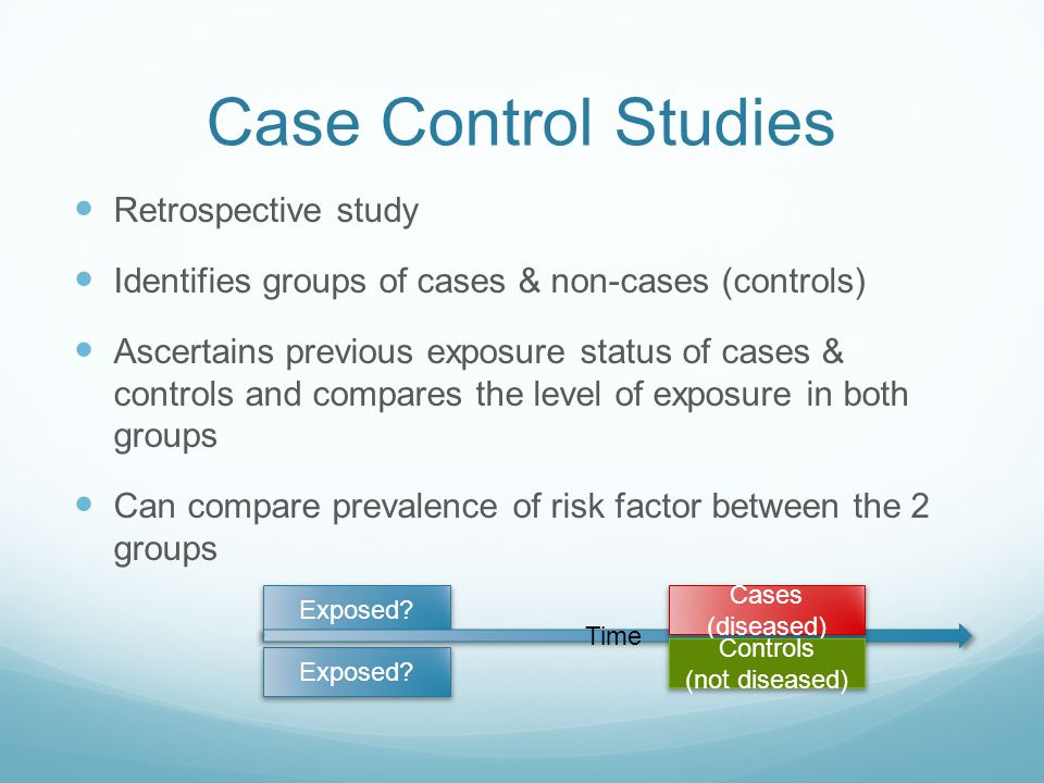 Case Control Studies Retrospective study Identifies groups of cases & non-cases (controls) Ascertains previous exposure status of cases & controls and