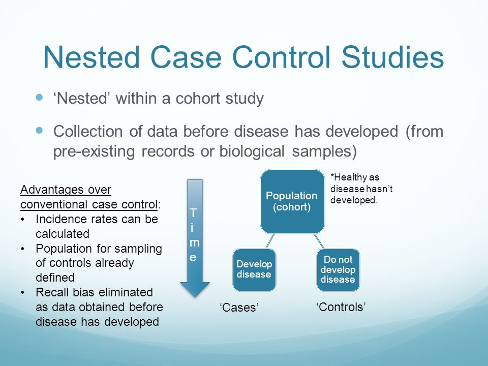 Nested Case Control Studies 'Nested' within a cohort study Collection of data before disease has developed (from pre-existing records or biological sa