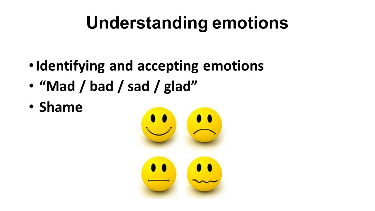 Understanding emotions Identifying and accepting emotions Mad / bad / sad / glad Shame