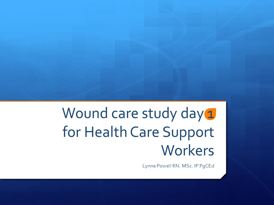 Wound care study day 1 for Health Care Support Workers Lynne Powell RN. MSc. IP PgCEd