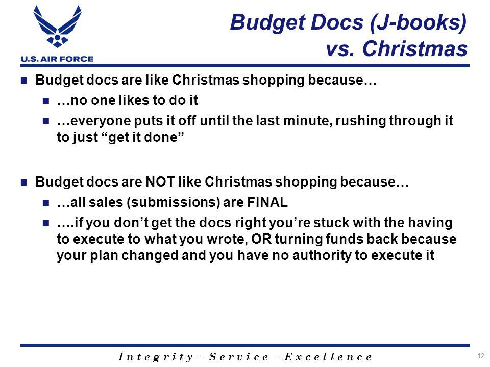 I n t e g r i t y - S e r v i c e - E x c e l l e n c e Budget Docs (J-books) vs. Christmas Budget docs are like Christmas shopping because… …no one l