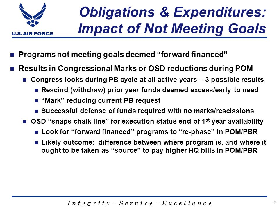 I n t e g r i t y - S e r v i c e - E x c e l l e n c e Obligations & Expenditures: Impact of Not Meeting Goals 5 Programs not meeting goals deemed forward financed Results in Congressional Marks or OSD reductions during POM Congress looks during PB cycle at all active years – 3 possible results Rescind (withdraw) prior year funds deemed excess/early to need Mark reducing current PB request Successful defense of funds required with no marks/rescissions OSD snaps chalk line for execution status end of 1 st year availability Look for forward financed programs to re-phase in POM/PBR Likely outcome: difference between where program is, and where it ought to be taken as source to pay higher HQ bills in POM/PBR