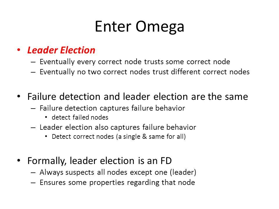 Weakest Failure Detector for Consensus Omega the weakest failure detector for consensus – How to prove it.