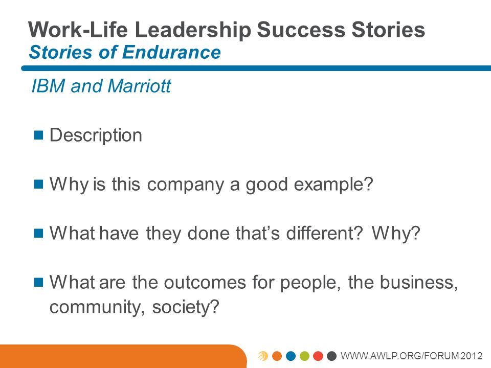 WWW.AWLP.ORG/FORUM 2012 Work-Life Leadership Success Stories Stories of Endurance IBM and Marriott  Description  Why is this company a good example.