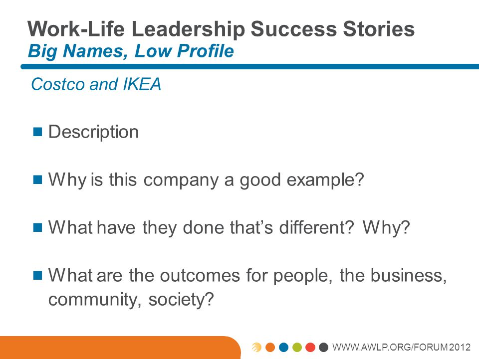 WWW.AWLP.ORG/FORUM 2012 Work-Life Leadership Success Stories Big Names, Low Profile Costco and IKEA  Description  Why is this company a good example