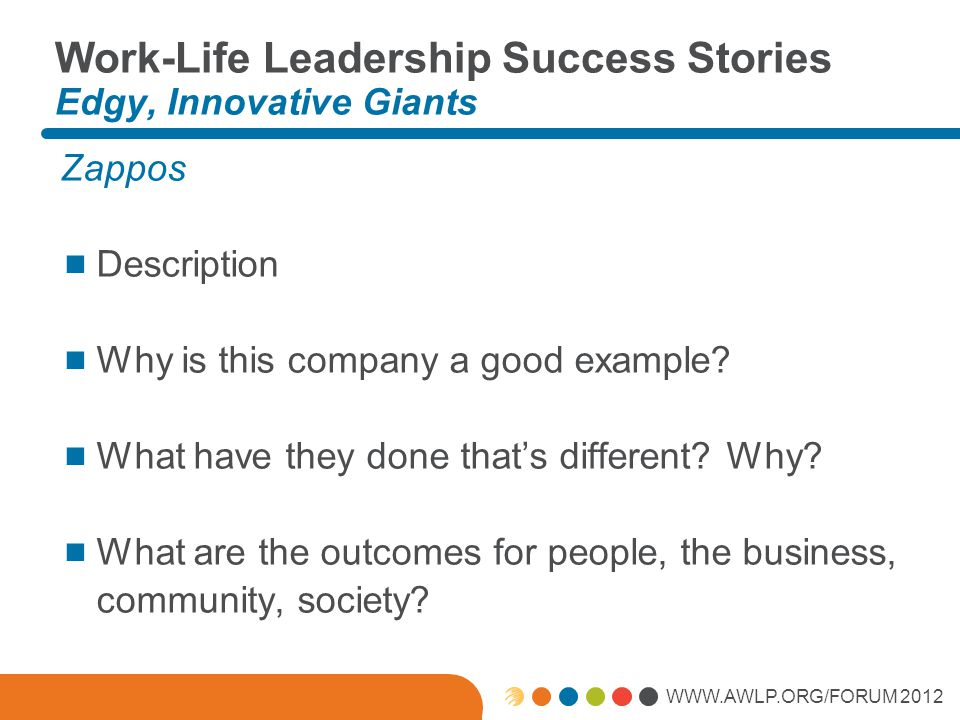 WWW.AWLP.ORG/FORUM 2012 Work-Life Leadership Success Stories Edgy, Innovative Giants Zappos  Description  Why is this company a good example?  What