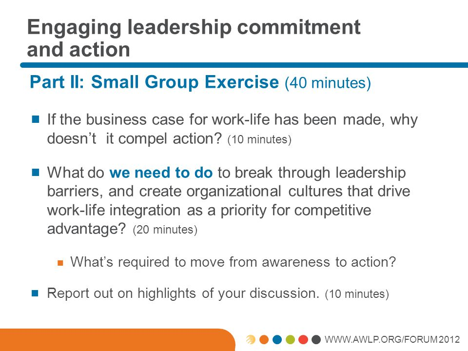 WWW.AWLP.ORG/FORUM 2012 Engaging leadership commitment and action Part II: Small Group Exercise (40 minutes)  If the business case for work-life has been made, why doesn't it compel action.