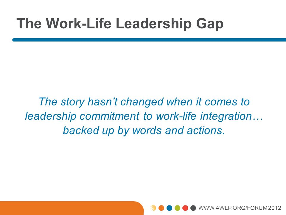 WWW.AWLP.ORG/FORUM 2012 The Work-Life Leadership Gap The story hasn't changed when it comes to leadership commitment to work-life integration… backed up by words and actions.