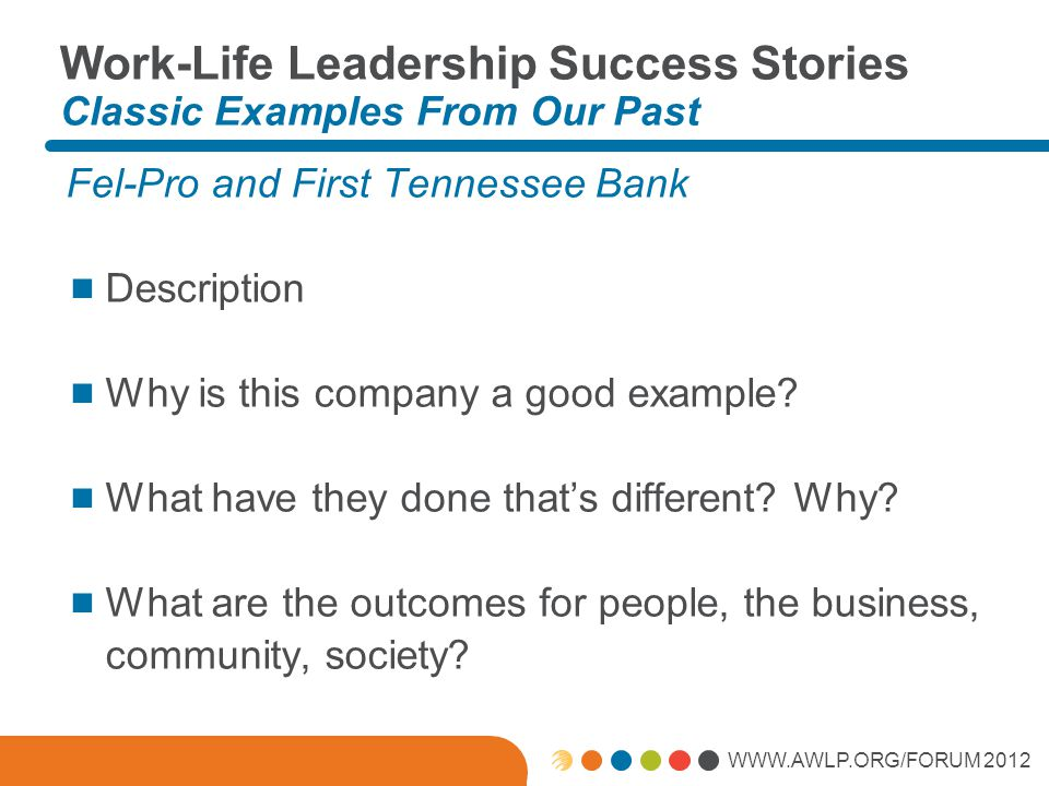 WWW.AWLP.ORG/FORUM 2012 Work-Life Leadership Success Stories Classic Examples From Our Past Fel-Pro and First Tennessee Bank  Description  Why is th