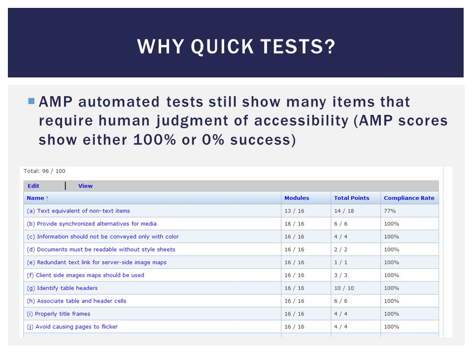 WHY QUICK TESTS.