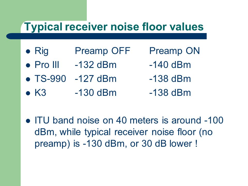 Typical receiver noise floor values RigPreamp OFFPreamp ON Pro III-132 dBm-140 dBm TS-990-127 dBm-138 dBm K3-130 dBm-138 dBm ITU band noise on 40 meters is around -100 dBm, while typical receiver noise floor (no preamp) is -130 dBm, or 30 dB lower !