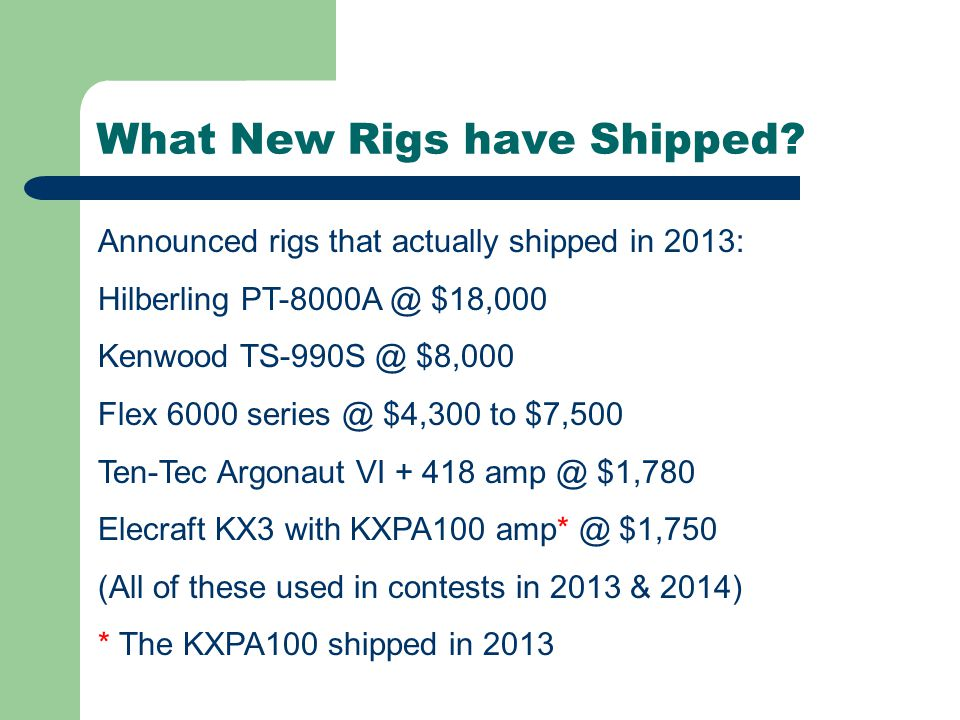 Comments about the new rigs.Hilberling updated filter boards for better CW performance.