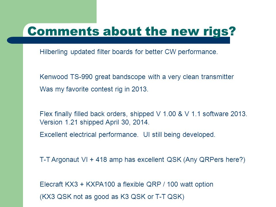 How did new rigs actually perform.Hilberling's new CW filter was a big improvement.