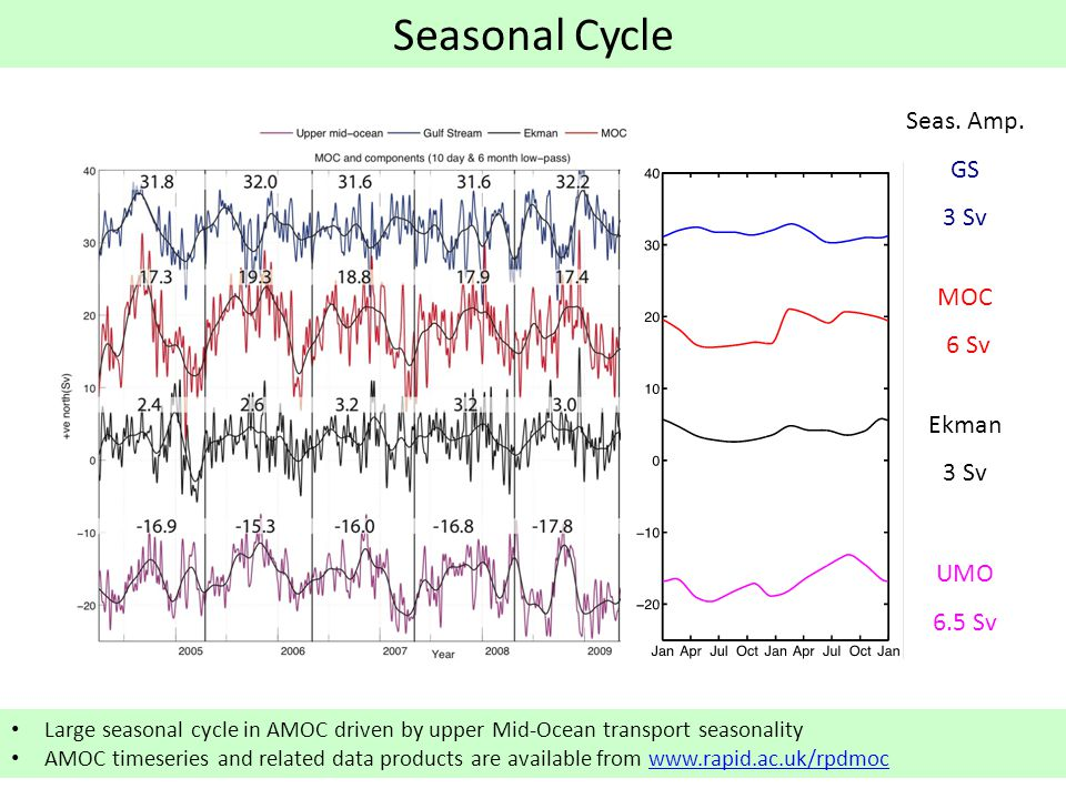 Seasonal Cycle Large seasonal cycle in AMOC driven by upper Mid-Ocean transport seasonality AMOC timeseries and related data products are available from www.rapid.ac.uk/rpdmocwww.rapid.ac.uk/rpdmoc Seas.