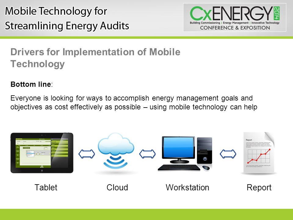 Drivers for Implementation of Mobile Technology Bottom line: Everyone is looking for ways to accomplish energy management goals and objectives as cost