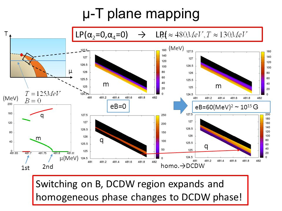 μ-T plane mapping LP(α 2 =0,α 4 =0) → LP( ) T μ m q eB=0 m Switching on B, DCDW region expands and homogeneous phase changes to DCDW phase! q homo.→DC