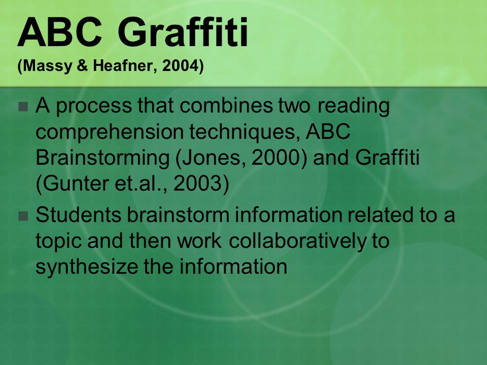 ABC Graffiti (Massy & Heafner, 2004) A process that combines two reading comprehension techniques, ABC Brainstorming (Jones, 2000) and Graffiti (Gunter et.al., 2003) Students brainstorm information related to a topic and then work collaboratively to synthesize the information