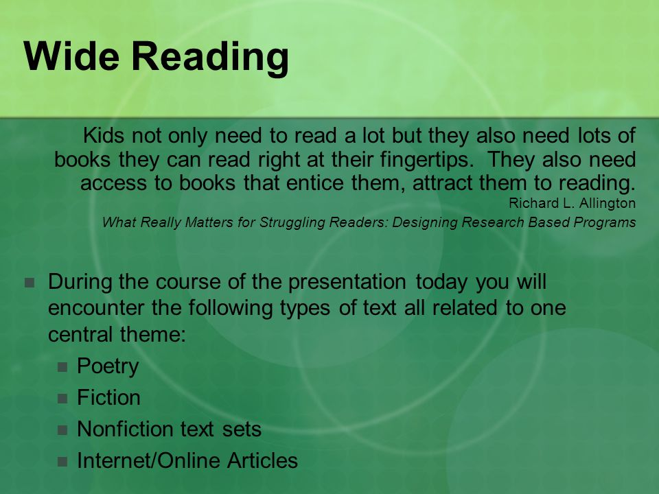 Wide Reading Kids not only need to read a lot but they also need lots of books they can read right at their fingertips.