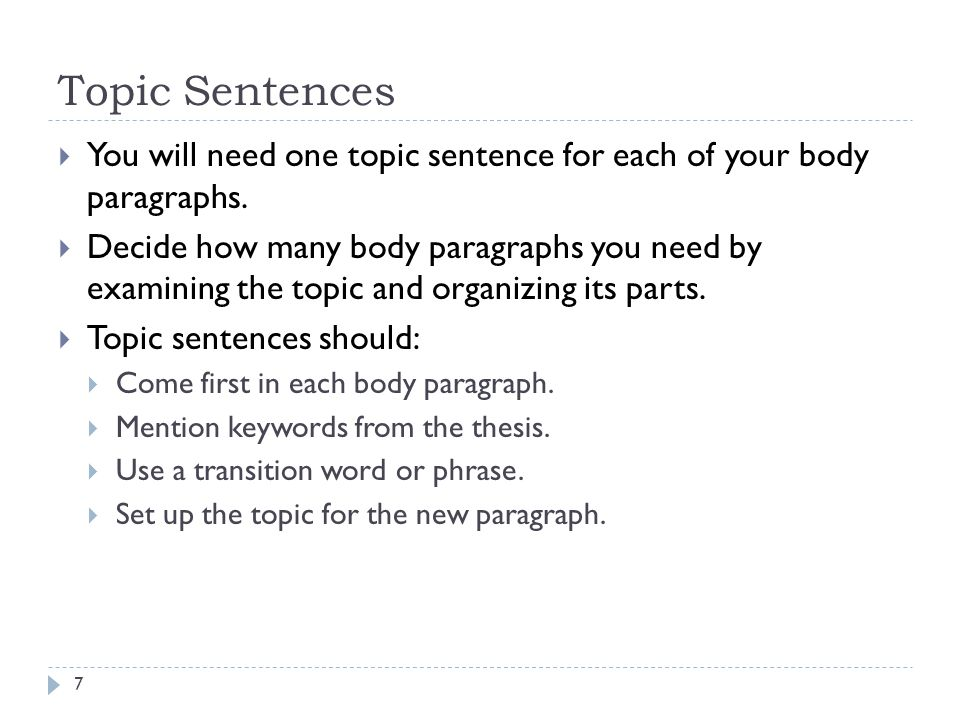 Body Paragraphs and Quotes Body paragraphs have four basic parts (CDC 2 ):  C __________ (topic sentence)  D __________ (quotes/paraphrases)  C __________ (your unique thoughts about the data— 3 rd person only)  C __________ (transition sentence to next paragraph) 18