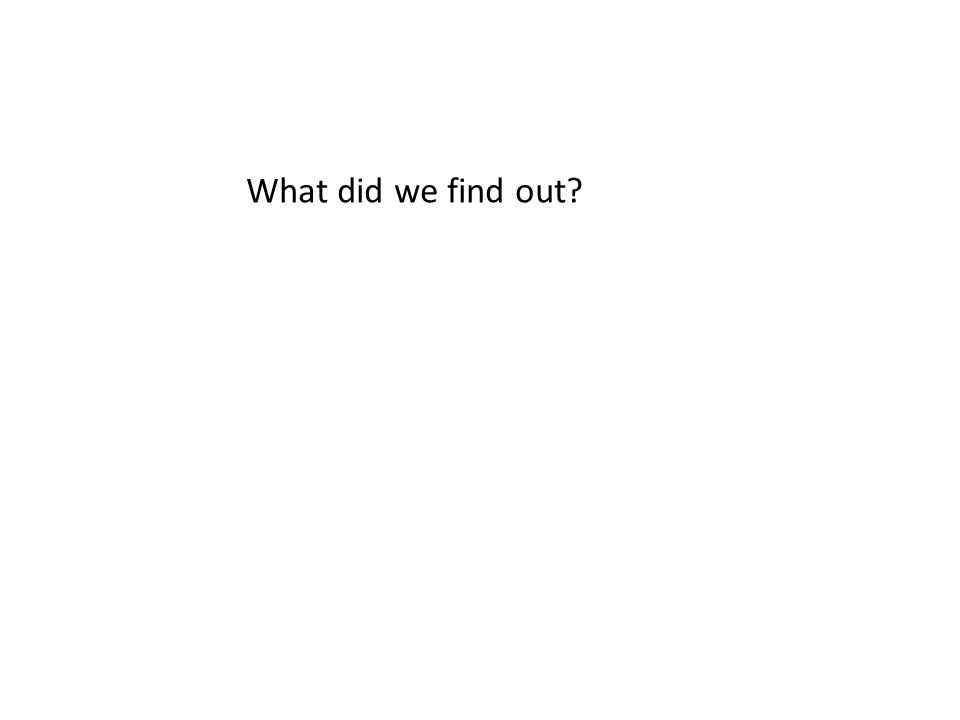 What did we find out?