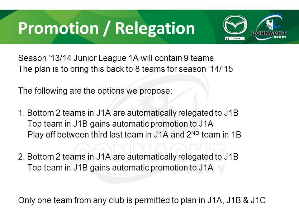 Promotion / Relegation Season '13/14 Junior League 1A will contain 9 teams The plan is to bring this back to 8 teams for season '14/'15 The following are the options we propose: 1.