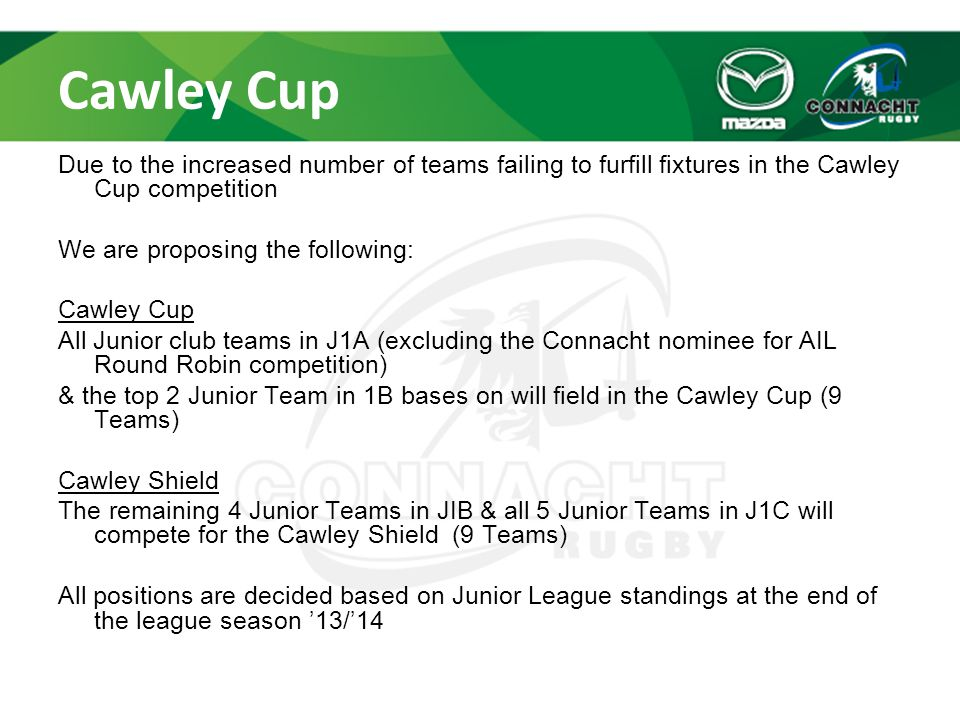Cawley Cup Due to the increased number of teams failing to furfill fixtures in the Cawley Cup competition We are proposing the following: Cawley Cup A