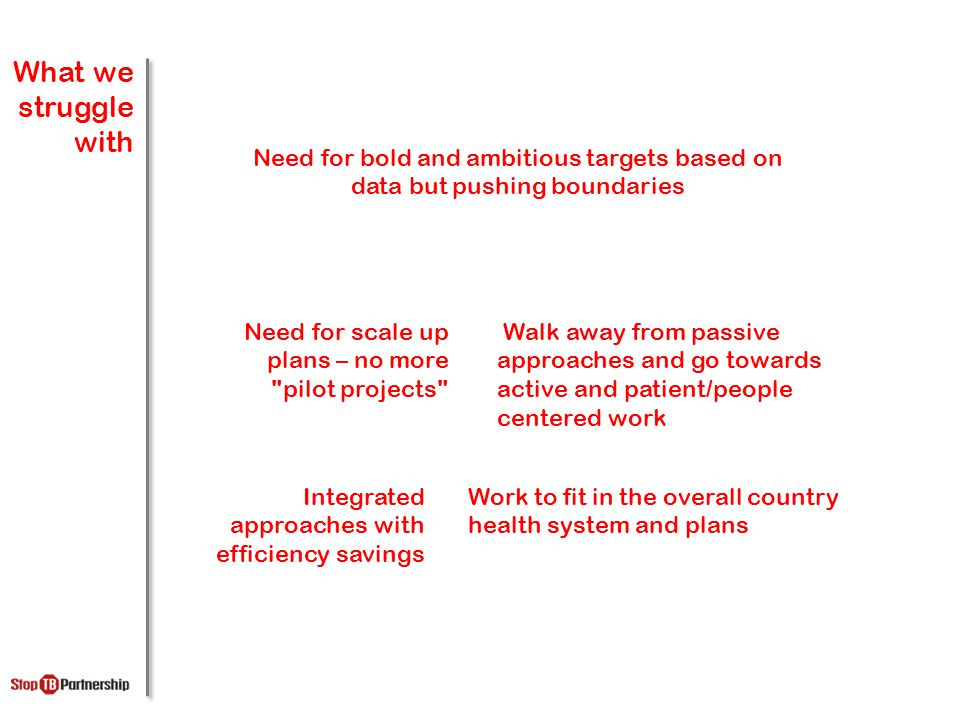 What we struggle with Need for bold and ambitious targets based on data but pushing boundaries Walk away from passive approaches and go towards active and patient/people centered work Need for scale up plans – no more pilot projects Work to fit in the overall country health system and plans Integrated approaches with efficiency savings